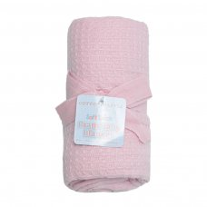 CBP75-BP-P: Pink Waffle Cotton Baby Blanket