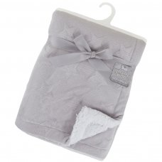 FBP212-G: Grey Deluxe Star Embossed Flannel Pink Wrap