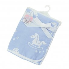 FBP214-B: Reversible White/Blue Rocking Horse Cotton Wrap