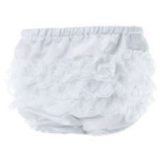 FP03-SW: White Satin Frilly Pants (0-12 Months)