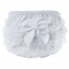 FP10-W: White Cotton Frilly Pants (NB-18 Months)