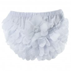 FP14-W: White Cotton Frilly Pants (NB-18 Months)