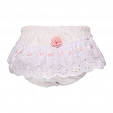 FP16-P: White/Pink Cotton Frilly Pants (NB-18 Months)