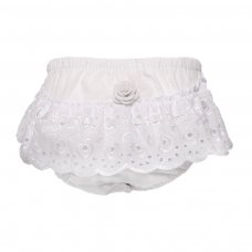 FP16-W: White Cotton Frilly Pants (NB-18 Months)