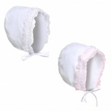 H34-612: White Bonnet Hat w/Lace (6-12 Months)