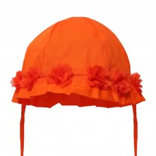 H38-O: Plain Orange Summer Hat w/Flowers (0-24 Months)