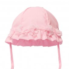 H38-P: Plain Pink Summer Hat w/Flowers (0-24 Months)