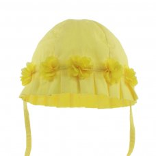 H38-Y: Plain Yellow Summer Hat w/Flowers (0-24 Months)
