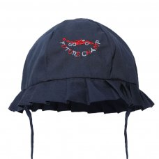 H40-N: Plain Navy Summer Hat w/Car Emb (0-24 Months)