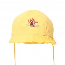 H40-Y: Plain Yellow Summer Hats w/Boat Emb (0-24 Months)