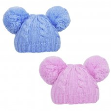 H475-PB: Cable Knit Pom-Pom Hat (0-6m)