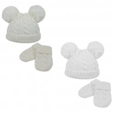 H495-CW: Cable Knit Pom-Pom Hat & Mitten Set (0-6m)