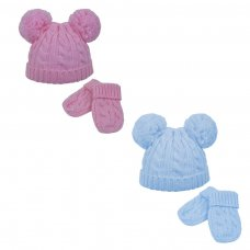 H495-PB: Cable Knit Pom-Pom Hat & Mitten Set (0-6m)