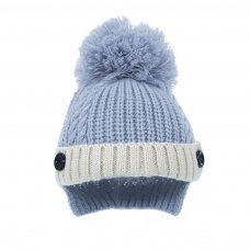 H500: Ribbed and Cable Knit Hat w/ Pom-Pom (0-12m)