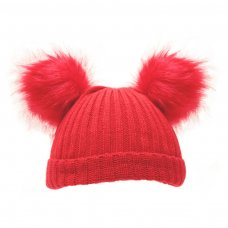 H506-R: Red Double Pom Pom Hat (0-6m)