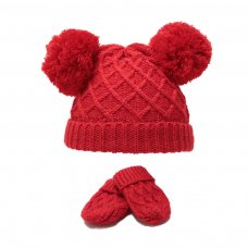 H624-R: Red Diamond Knit Pom-Pom Hat & Mitten Set (0-6m)