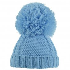 H636-B: Blue Pearl & Cable Knit Pom-Pom Hat (6-18m)