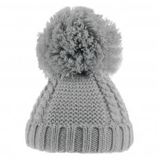 H636-G: Grey Pearl & Cable Knit Pom-Pom Hat (6-18m)