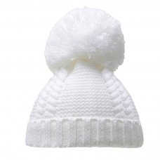 H636-W: White Pearl & Cable Knit Pom-Pom Hat (6-18m)