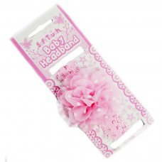 HB94-P: Pink Lace Headband w/Spotty Organza Flower