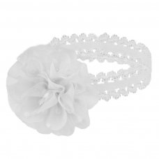 HB94-W: White Lace Headband w/Spotty Organza Flower