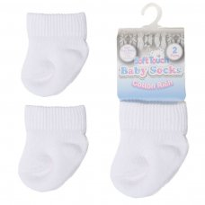 PRS03-W: 2 Pack Premature White Turnover Socks