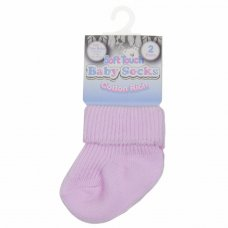 PRS05-P: 2 Pack Premature Pink Turnover Socks