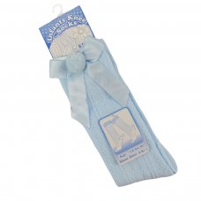 PS08-B: Blue Pelerine Knee-Length Socks w/Bow & Pom Pom (0-24 Months)