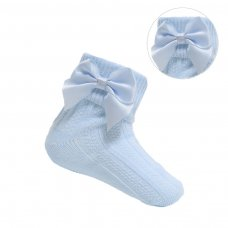 S123-B: Blue Ankle Socks w/Large Bow (0-24 Months)