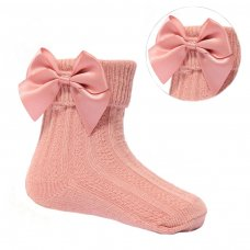 S123-RO: Rose Gold Ankle Socks w/Large Bow (0-24 Months)