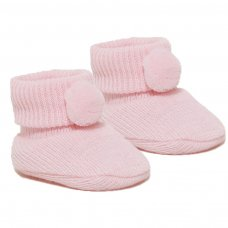 S408-P: Pink Acrylic Pom Pom Baby Bootees