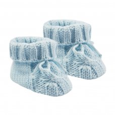 S415-B: Blue Acrylic Cable Knit Baby Bootees