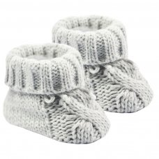 S415-G: Grey Acrylic Cable Knit Baby Bootees