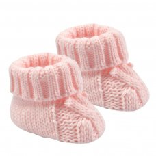 S415-P: Pink Acrylic Cable Knit Baby Bootees