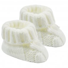 S415-W: White Acrylic Cable Knit Baby Bootees