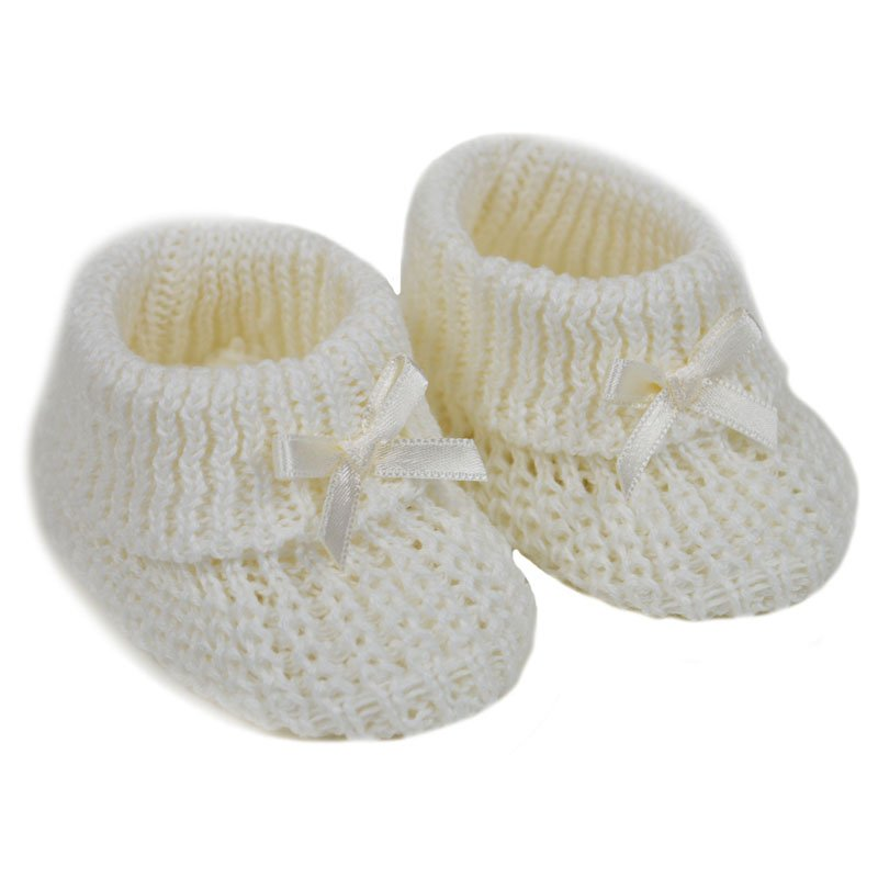 S436-C: Cream Cotton Baby Bootees w/Bow