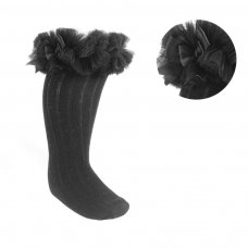 S72-BLK: Black Ribbed Knee-Length Socks w/Organza Lace & Bow (NB-18 Months)