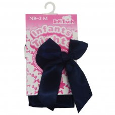 T120-N: Navy Chevron Tights w/Long Bow (NB-24 Months)