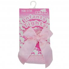 T120-P-612: Pink Chevron Tights w/Long Bow (6-12 Months)