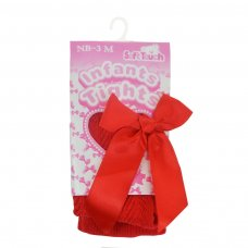 T120-R: Red Chevron Tights w/Long Bow (NB-24 Months)