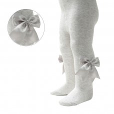 T122-G: Grey Heart Tights w/Large Bow (NB-24 Months)