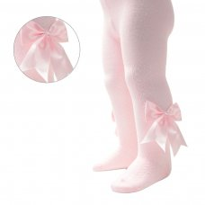 T122-P: Pink Heart Tights w/Large Bow (NB-24 Months)