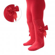 T122-R: Red Heart Tights w/Large Bow (NB-24 Months)
