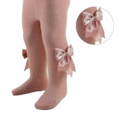 T122-RO: Rose Gold Heart Tights w/Large Bow (NB-24 Months)