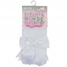 T122-W: White Heart Tights w/Large Bow (NB-24 Months)