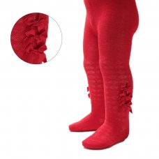 T124-R: Red Diamond Jacquard Tights w/Three Small Bow (NB-24 Months)