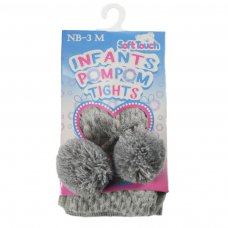 T45-G: Grey Tights Check Tights with Pom Pom (NB-24 Months)