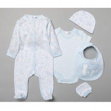 T19885: Baby Boys Bears 6 Piece Mesh Bag Gift Set (NB-6 Months)