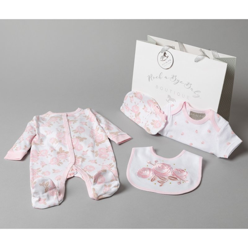 T19891: Baby Girls Floral 6 Piece Mesh Bag Gift Set (0-3 Months Only)