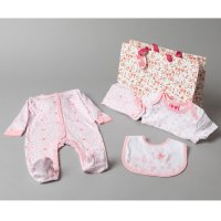 T19892: Baby Girls Floral Butterfly 6 Piece Mesh Bag Gift Set (NB-6 Months)